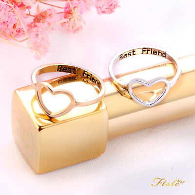FASHION BEST FRIENDS Letter Ring Simple Hollow Heart Ring