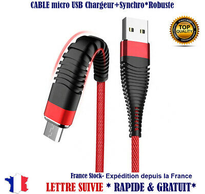 Cable Micro USB Chargeur Sync rapid Nylon Samsung LG HTC Sony Asus Huawei Xiaomi