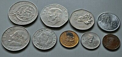 Mexico coin mix - 9 Different - Late 70's-Early 80's (s2a)