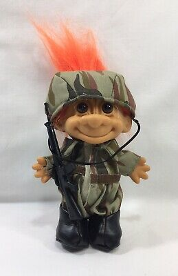 Vintage Russ Berrie troll doll My Lucky Soldier military camouflage orange hair