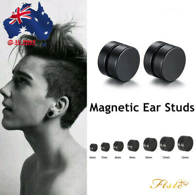 Magnetic BLACK Earrings Ear Studs Mens Women's NO PIERCING Jewellery AUS
