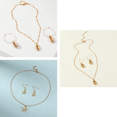 Natural Pearl Shell Starfish Pendant Necklace Earrings Fashion Jewelry Set