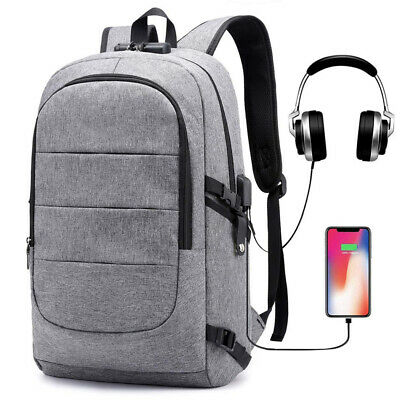 Mens Anti-theft USB with Charger Port Backpack Laptop Notebook Travel School Bag