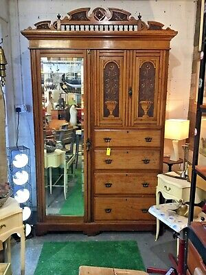 Antique Edwardian Double Wardrobe with Mirror door and graduating drawers