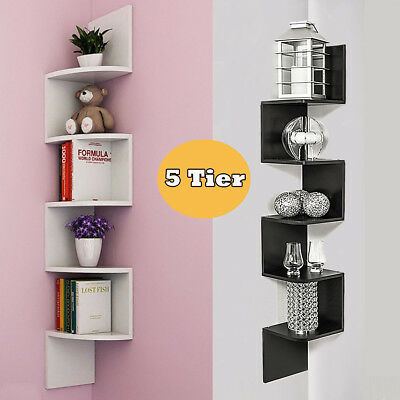 5 Tier Floating Corner Shelf 3D Wall Mount Storage Display Bookcase Home Decor
