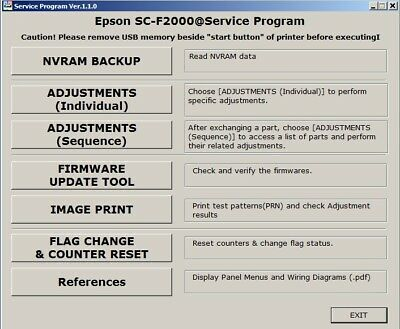 SERVICE PROGRAM FOR Epson SureColor F6000 B6000 F6070 B6070