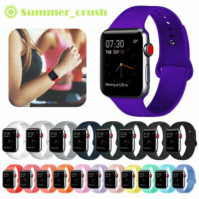 For Apple Watch iWatch Series 38/40/42/44mm 2 3 4 Soft Silicone Sport Strap Band