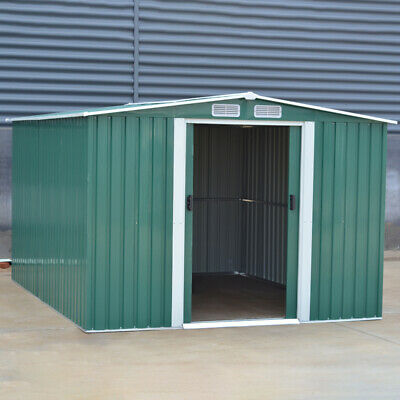 Garden Shed Metal Apex Roof Outdoor Storage House Tool Sheds with Foundation UK