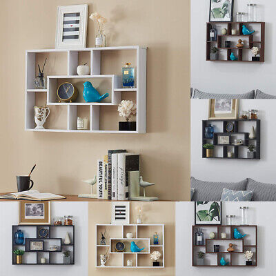 Floating Wall Space Saving Black Shelves Display Shelf Bookshelf Storage Unit UK