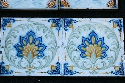 2 x Victorian Decorative Embossed Floral Tiles 6 1/8 ins square