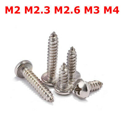 M2/M2.3/M3/M4 Thread Nickel Plated Phillips Round Head Self Tapping Screws Bolts