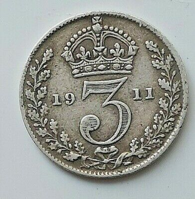SOLID SILVER Threepence 1911 Coin South Pole Antarctic Royal Mint London Antique
