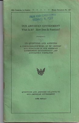 1965 Edition OUR AMERICAN GOVERNMENT 89 Congress 1st Session RICHARD H. POFF