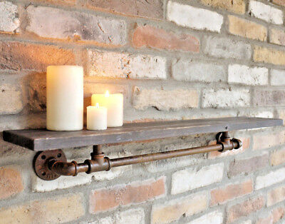 Retro Wooden Pipe Shelf Industrial Wall Mount Display Shelving Floating Storage