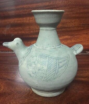 ANTIQUE  17thc THAI SAWANKHALOK  CELADON  CHICK  / BIRD DESIGNED WINE  VASE