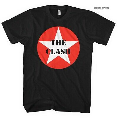 Official Black T Shirt THE CLASH Punk  'Star Badge' Classic Logo All Sizes