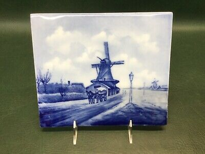 Antique RXC Rosenthal Germany Delft Blue Tile Trivet Ceramic Dutch Windmill 8.5""