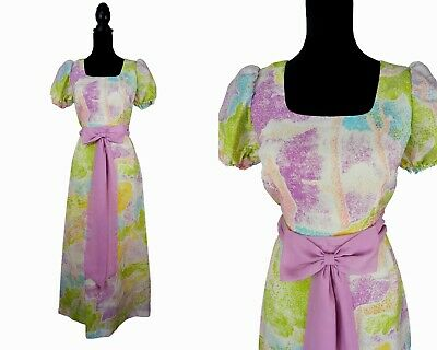 70s Vintage Retro French Pastel Tree Print Bohemian Maxi Dress UK 10 Fr 38 1970s