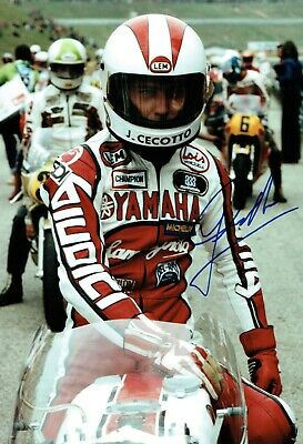 Johnny CECOTTO SIGNED Autograph 12x8 Portrait Photo AFTAL COA Yamaha Rider
