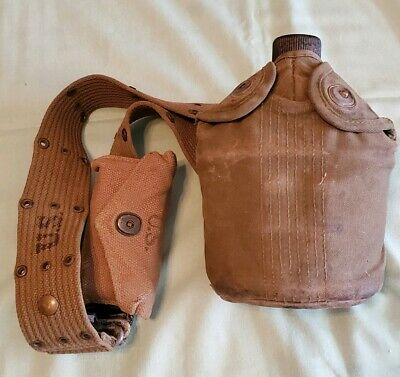 Vintage US WWII Military Belt W/ Canteen in Cover Pouch & First Aid Kit in Pouch