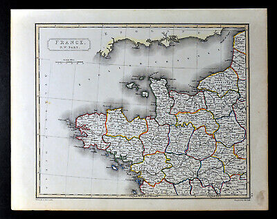 1836 Arrowsmith Map Northwest France Normandy Brittany Le Havre Brest Chartres