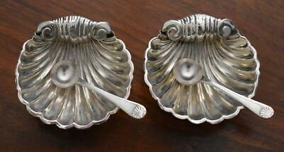 C 1900 Antique English W.e.t. Sterling Silver Shell Salt Cellar Pair With Spoons