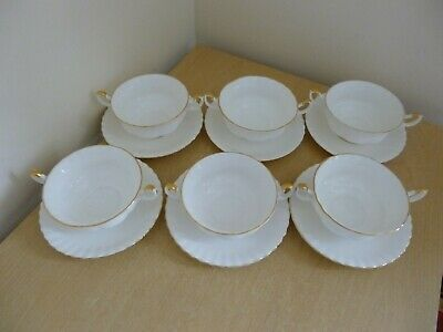 6 Royal Albert Val D'Or Twin Handled Soup Bowls - 1st Quality - Super Condition!