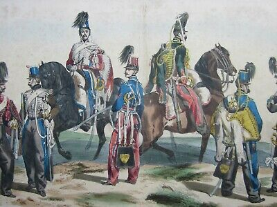Late 19th Century Antique Lithograph, HUSSARDS, Hand Coloured, Lith de VILLAIN