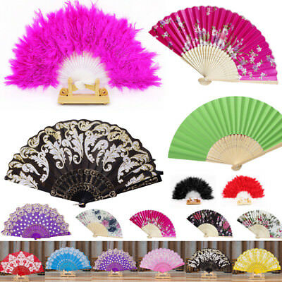 Feather/Bamboo Folding Hand Held Flower Fan Chinese Dance Party Pocket Fan Q