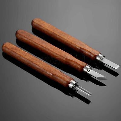 3Pcs/Set Wood Carving Tool Set Hand Chisel Woodworking Hobby Cutter Graver + Box