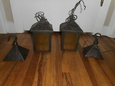 Antique Mission PAIR Arts & Crafts Bungalow Hanging Porch Light Fixtures & Hooks