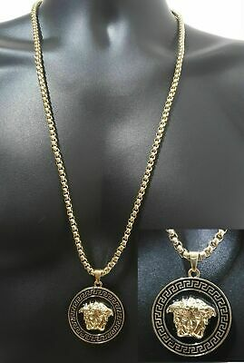 18k Medusa Necklace Plated Face Versace Style Iced Out Frame Best Seller