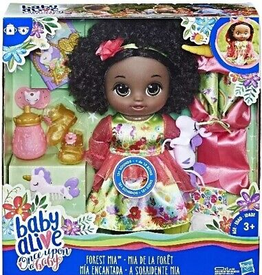 Hasbro Baby Alive Once Upon a Baby Forest Tales Forest Mia Black Curly Hair NIB
