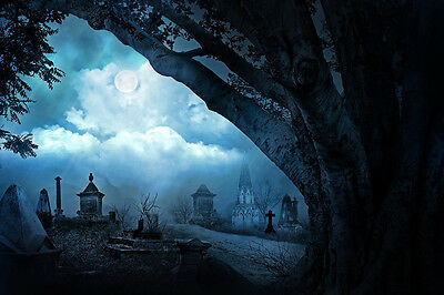 """perfect oil painting handpainted on canvas""""Cemetery By The Road""""NO4323"""