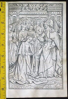 Large medieval BoH,Miniature on vellum,Coronation of Virgin,Simon Vostre,c.1512