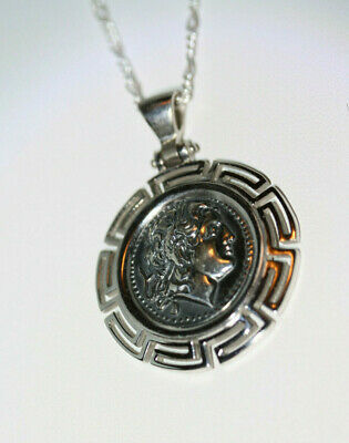 """Glam Greek Large Alexander The Great 925 Silver Necklace 50CM 20"""" Figaro Chain"""