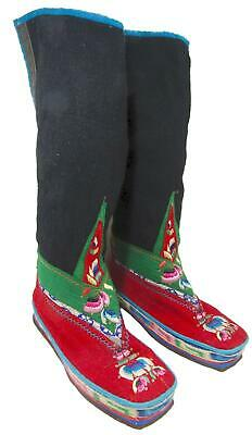 Tibetan Sumba Lham Boots Hand Made Leather Sole Embroidered Wool Felt