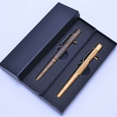 Handmade Brass Ballpoint Pen EDC Copper Retro Bolt Type Tactical Pen with Box