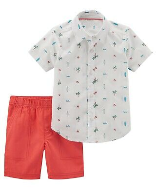 Carters 2 Piece Button Front Top Short Set Baby Boy 2pc Outfit Tropical Summer