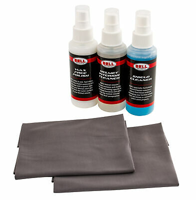 Bell Helmet Cleaning Kit With Visor Cleaner Wax Free Polish & Microfibre Cloths