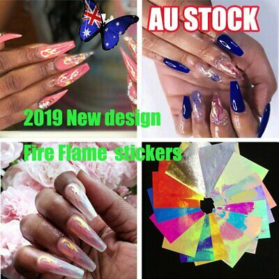 16Pc Holographic Fire Flame Hollow Nail Stickers Fires Sticker Nail Art Decor 6J