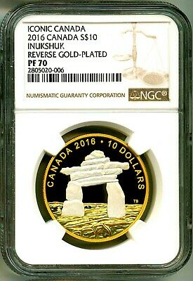 GUIDING THE WAY INUKSHUK 2018 CANADA $20 SILVER COIN PF70 ER REVERSE GOLD PLATED