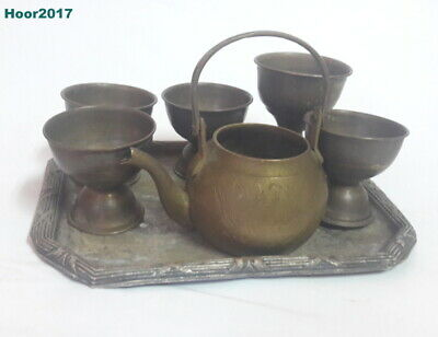 Antique Brass Arabic Coffee 5 cup, Tray and Small Jug Home decor nice items