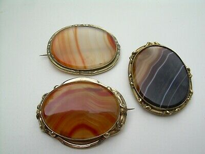 Antique Victorian Large Gilt Metal & Natural Agate Brooches x Three.