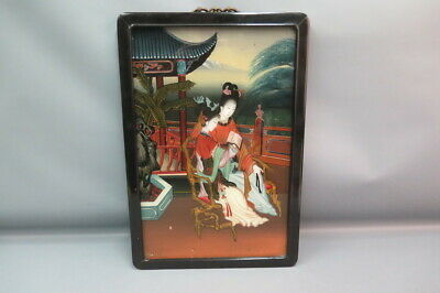 Antique Chinese Asian Reverse Glass Painting Women Ladies Reading Black Frame