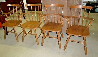 Maple Barrel Back Armchairs Dining Room Chairs Made in the USA Set of 4