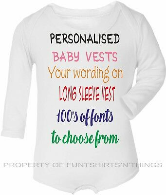 Personalised Baby Vest Long Sleeve babygrow bodysuit*