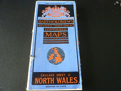 Vintage Bartholomew's contoured half-inch cloth map of North Wales sheet 11