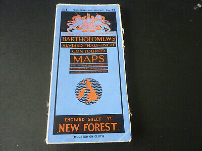 Vintage Bartholomew's half-inch contoured cloth map of New Forest sheet 33