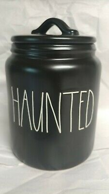 """New Rae Dunn by Magenta Halloween L/L  """"HAUNTED"""" Black Canister 2019 HTF Rare"""